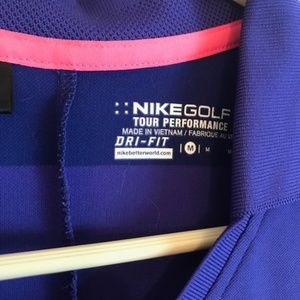 Nike Tops - Nike Golf Dri-Fit V-Neck Polo Stripe Purple-Medium